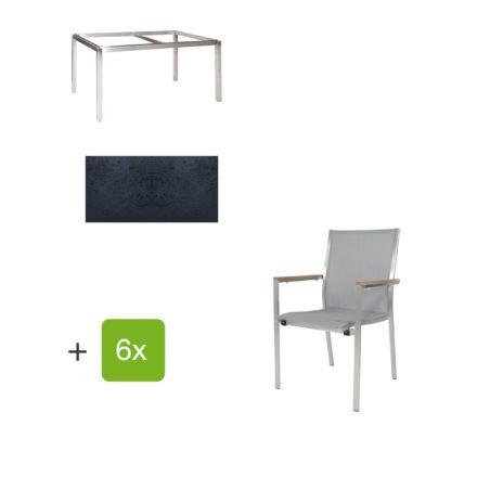 """Jati & Kebon Gartentisch 160x90 cm """"Muri"""", Tischplatte HPL schieferschwarz mit Gartenstuhl """"Darfo"""", Textilgewebe silbergrau, Armlehnen Teak"""