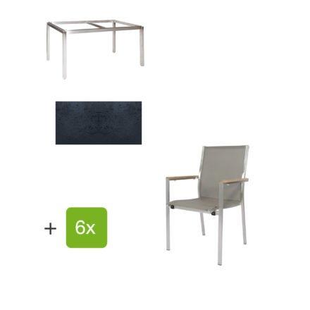 """Jati & Kebon Gartentisch 160x90 cm """"Muri"""", Tischplatte HPL schieferschwarz mit Gartenstuhl """"Darfo"""", Textilgewebe taupe, Armlehnen Teak"""