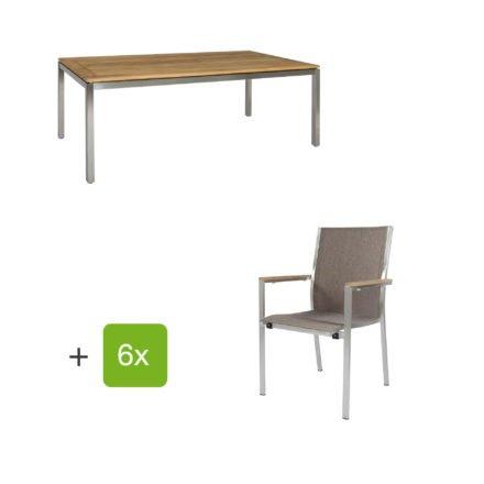 """Jati & Kebon Gartentisch 160x90 cm """"Muri"""", Tischplatte Teakholz mit Gartenstuhl """"Darfo"""", Textilgewebe sahara, Armlehnen Teak"""