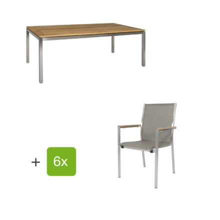 """Jati & Kebon Gartentisch 160x90 cm """"Muri"""", Tischplatte Teakholz mit Gartenstuhl """"Darfo"""", Textilgewebe taupe, Armlehnen Teak"""
