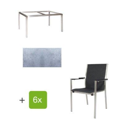 """Jati & Kebon Gartentisch 160x90 cm """"Muri"""", Tischplatte HPL zementgrau mit Gartenstuhl """"Darfo"""", Textilgewebe basalt, Armlehnen Alu"""