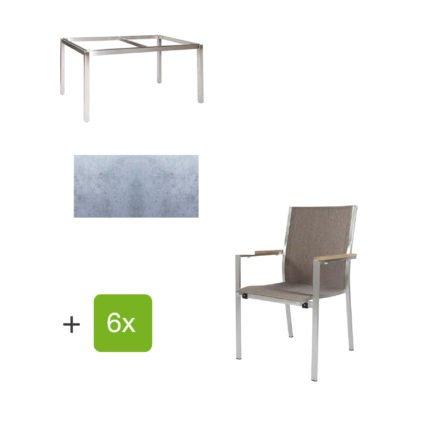 """Jati & Kebon Gartentisch 160x90 cm """"Muri"""", Tischplatte HPL zementgrau mit Gartenstuhl """"Darfo"""", Textilgewebe sahara, Armlehnen Teak"""