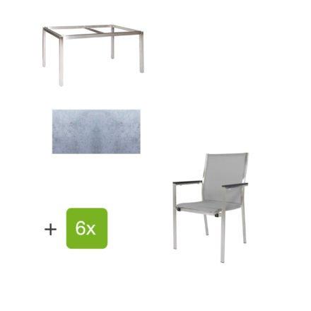 """Jati & Kebon Gartentisch 160x90 cm """"Muri"""", Tischplatte HPL zementgrau mit Gartenstuhl """"Darfo"""", Textilgewebe silbergrau, Armlehnen Alu"""