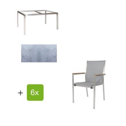 """Jati & Kebon Gartentisch 160x90 cm """"Muri"""", Tischplatte HPL zementgrau mit Gartenstuhl """"Darfo"""", Textilgewebe silbergrau, Armlehnen Teak"""
