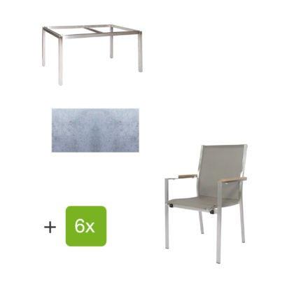 """Jati & Kebon Gartentisch 160x90 cm """"Muri"""", Tischplatte HPL zementgrau mit Gartenstuhl """"Darfo"""", Textilgewebe taupe, Armlehnen Teak"""