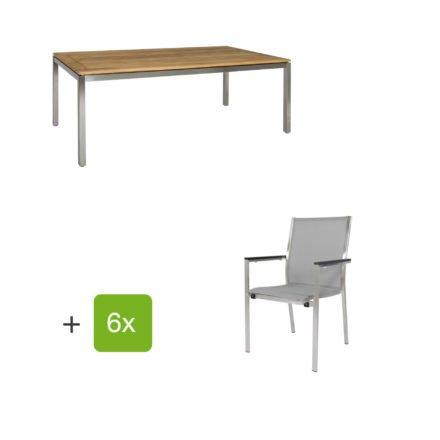 """Jati & Kebon Gartentisch 160x90 cm """"Muri"""", Tischplatte Teakholz mit Gartenstuhl """"Darfo"""", Textilgewebe silbergrau, Armlehnen Alu"""