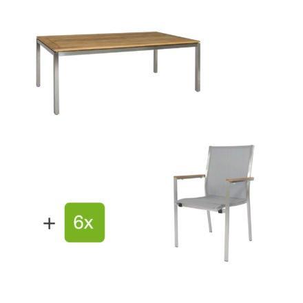 """Jati & Kebon Gartentisch 160x90 cm """"Muri"""", Tischplatte Teakholz mit Gartenstuhl """"Darfo"""", Textilgewebe silbergrau, Armlehnen Teak"""