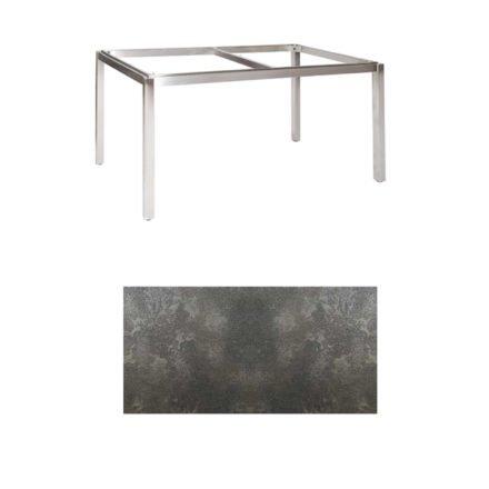 "Jati & Kebon Tischgestell ""Muri"" 160x90 cm, Edelstahl, Tischplatte HPL Granit dunkelgrau"