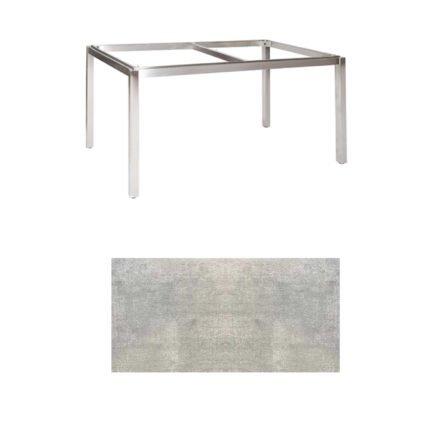 "Jati & Kebon Tischgestell ""Muri"" 160x90 cm, Edelstahl, Tischplatte HPL Granit hellgrau"