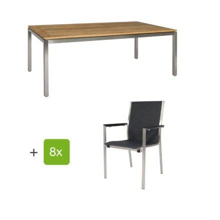 """Jati & Kebon Gartentisch 220x100 cm """"Muri"""", Tischplatte Teak mit Gartenstuhl """"Darfo"""", Textilgewebe basalt, Armlehnen Alu"""