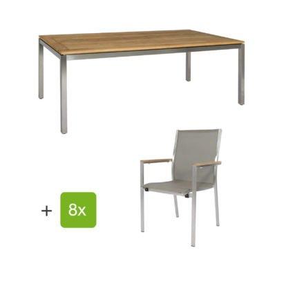 """Jati & Kebon Gartentisch 220x100 cm """"Muri"""", Tischplatte Teak mit Gartenstuhl """"Darfo"""", Textilgewebe taupe, Armlehnen Teak"""