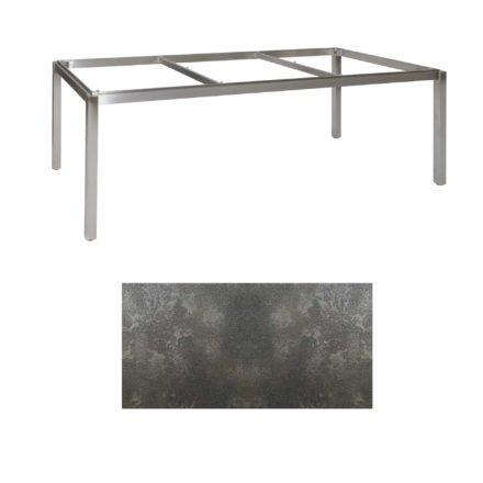 "Jati & Kebon Tischgestell ""Muri"" 220x100 cm, Edelstahl, Tischplatte HPL Granit dunkelgrau"