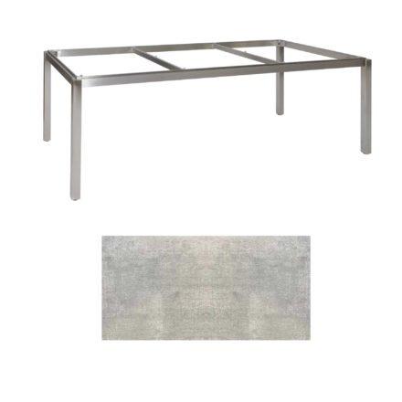 "Jati & Kebon Tischgestell ""Muri"" 220x100 cm, Edelstahl, Tischplatte HPL Granit hellgrau"