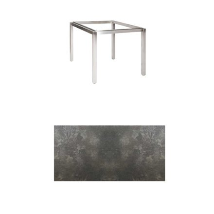 "Jati & Kebon Tischgestell ""Muri"" 90x90 cm, Edelstahl, Tischplatte HPL Granit dunkelgrau"