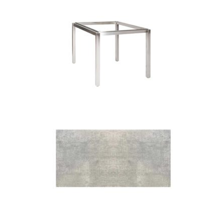 "Jati & Kebon Tischgestell ""Muri"" 90x90 cm, Edelstahl, Tischplatte HPL Granit hellgrau"