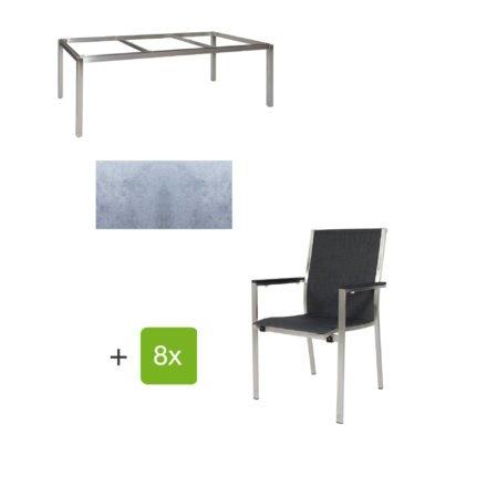 """Jati & Kebon Gartentisch 220x100 cm """"Muri"""", Tischplatte HPL zementgrau mit Gartenstuhl """"Darfo"""", Textilgewebe basalt, Armlehnen Alu"""