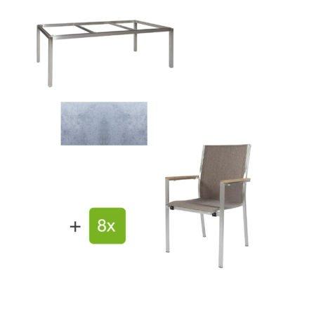 """Jati & Kebon Gartentisch 220x100 cm """"Muri"""", Tischplatte HPL zementgrau mit Gartenstuhl """"Darfo"""", Textilgewebe sahara, Armlehnen Teak"""