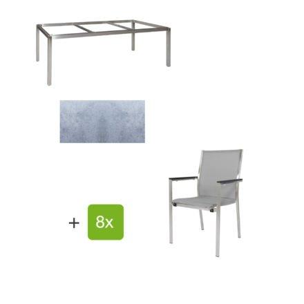 """Jati & Kebon Gartentisch 220x100 cm """"Muri"""", Tischplatte HPL zementgrau mit Gartenstuhl """"Darfo"""", Textilgewebe silbergrau, Armlehnen Alu"""