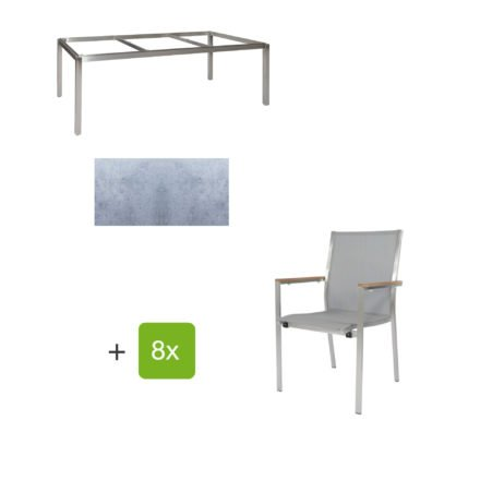 """Jati & Kebon Gartentisch 220x100 cm """"Muri"""", Tischplatte HPL zementgrau mit Gartenstuhl """"Darfo"""", Textilgewebe silbergrau, Armlehnen Teak"""