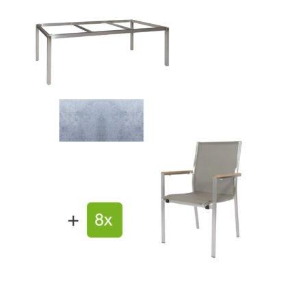 """Jati & Kebon Gartentisch 220x100 cm """"Muri"""", Tischplatte HPL zementgrau mit Gartenstuhl """"Darfo"""", Textilgewebe taupe, Armlehnen Teak"""