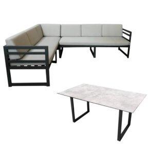 "Jati&Kebon ""Yoro"" Casual Dining, SET C – lange Seite links | Tischplatte HPL Granit hellgrau, Gestelle Alu eisengrau, Polster Olefin light grey"