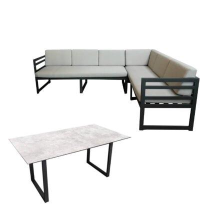 "Jati&Kebon ""Yoro"" Casual Dining, SET A – lange Seite rechts | Tischplatte HPL Granit hellgrau, Gestelle Alu eisengrau, Polster Olefin light grey"