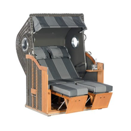 "SonnenPartner Strandkorb 2-Sitzer ""Classic Bullauge"", PVC-Kunststoffgeflecht anthrazit, Stoff Nr. 29"