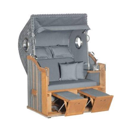 "SonnenPartner Strandkorb 2-Sitzer ""Classic Bullauge"", PVC-Kunststoffgeflecht onix, Stoff Charcoal DeLuxe"
