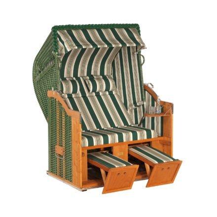 """SonnenPartner Strandkorb 2-Sitzer """"Classic"""", PVC-Kunststoffgeflecht grün mit beigen Nadelstreifen, Stoff Nr. 14"""
