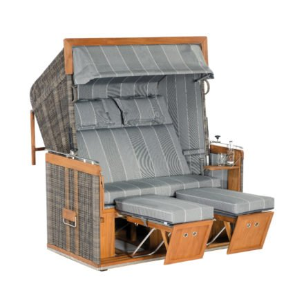 "Sonnenpartner Strandkorb ""Präsident Teak"", XL-2-Sitzer, Kunststoff-Rundgeflecht Cappuccinooptik, Stoff Nr. 198"