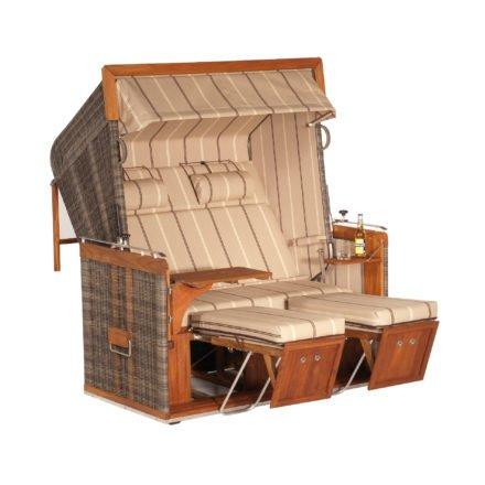 "Sonnenpartner Strandkorb ""Präsident Teak"", XL-2-Sitzer, Kunststoff-Rundgeflecht Cappuccinooptik, Stoff Nr. 57"