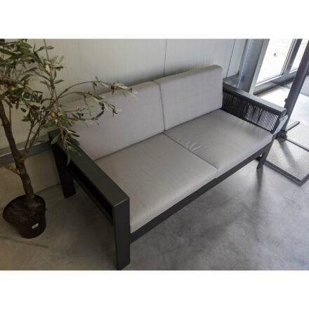 "Home Islands Loungesofa ""Miray"", Gestell Aluminum anthrazit (charcoal), Rope schwarz, Polster hellgrau"