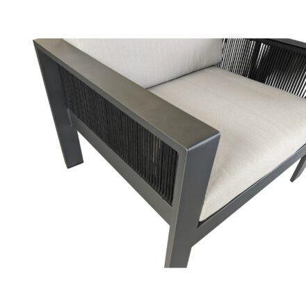 "Home Islands Loungesessel ""Miray"", Gestell Aluminum anthrazit (charcoal), Rope schwarz, Polster hellgrau"