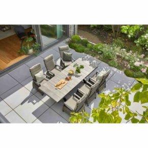 """Siena Garden """"Sincro"""" Ausziehtisch, Gestell Aluminium schwarz matt, Tischplatte Keramik washed grey, 200/260x100 cm, """"Corido"""" Dining-Sessel"""