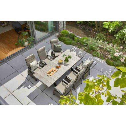 """Siena Garden Ausziehtisch """"Sincro"""", Gestell Aluminium schwarz matt, Tischplatte Keramik washed grey, 200/260x100 cm, Dining-Sessel """"Corido"""""""