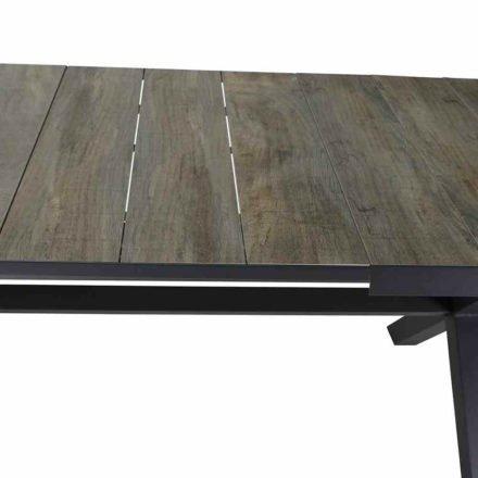 """Siena Garden Ausziehtisch """"Sincro"""", Gestell Aluminium schwarz matt, Tischplatte Keramik washed grey, 200/260x100 cm"""