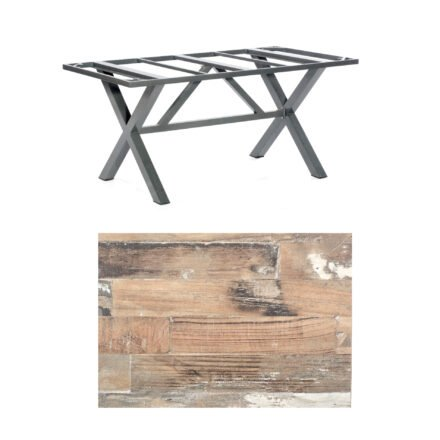 """SonnenPartner Tisch """"Base-Spectra"""", Gestell Alu anthrazit, Tischplatte HPL Shiplap Pinie, 160x90 cm"""