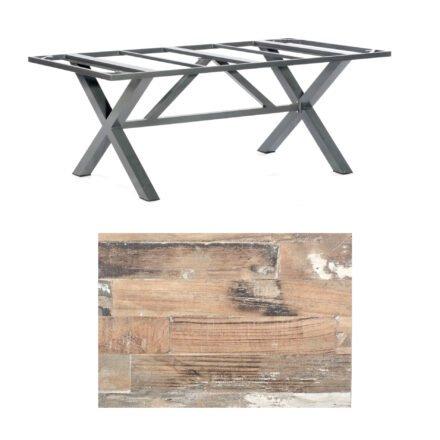 """SonnenPartner Tisch """"Base-Spectra"""", Gestell Alu anthrazit, Tischplatte HPL Shiplap Pinie, 200x100 cm"""