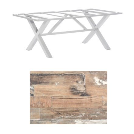 "SonnenPartner Tisch ""Base-Spectra"", Gestell Alu silber, Tischplatte HPL Shiplap Pinie, 200x100 cm"
