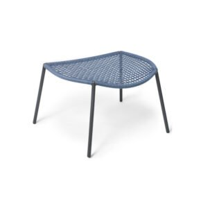 "Fischer Möbel Loungehocker ""Bloom"", Edelstahl anthrazit matt, Bespannung fm-flat Rope blau"