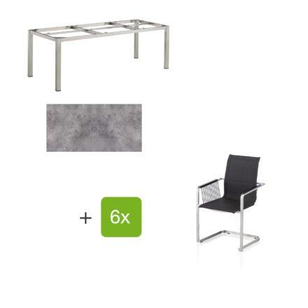 """Kettler Gartenmöbel-Set mit sechs Freischwinger Rope """"Feel"""" und einem Gartentisch 220x95 cm """"Cubic"""", Edelstahl, Tischplatte HPL anthrazit"""