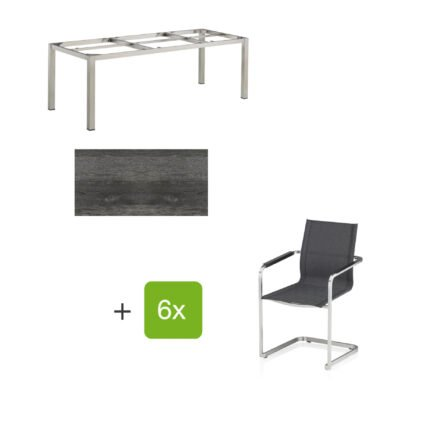 """Kettler Gartenmöbel-Set mit sechs Freischwingern """"Feel"""" und einem Gartentisch 220x95 cm """"Cubic"""", Edelstahl, Tischplatte HPL pinie anthrazit"""
