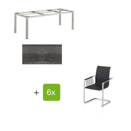 """Kettler Gartenmöbel-Set mit sechs Freischwinger Rope """"Feel"""" und einem Gartentisch 220x95 cm """"Cubic"""", Edelstahl, Tischplatte HPL pinie anthrazit"""