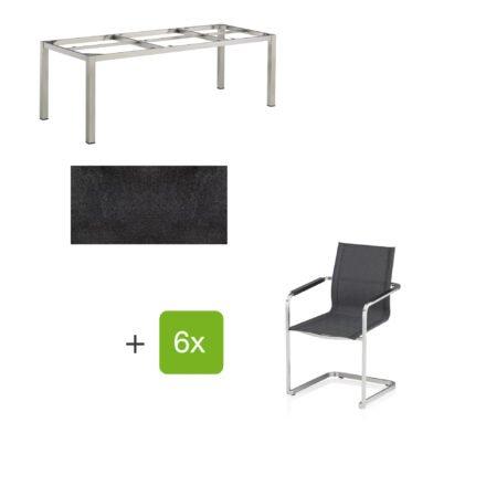 """Kettler Gartenmöbel-Set mit sechs Freischwingern """"Feel"""" und einem Gartentisch 220x95 cm """"Cubic"""", Edelstahl, Tischplatte HPL stahl"""