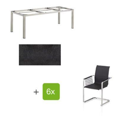 """Kettler Gartenmöbel-Set mit sechs Freischwinger Rope """"Feel"""" und einem Gartentisch 220x95 cm """"Cubic"""", Edelstahl, Tischplatte HPL stahl"""