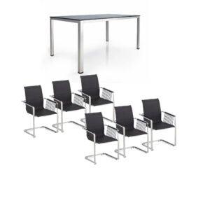 """Kettler Gartenmöbel-Set mit sechs Freischwingern Rope """"Feel"""" und einem Gartentisch 220x95 cm """"Cubic"""", Edelstahl, Tischplatte Keramik"""