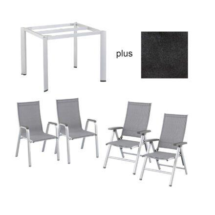"""Kettler Gartenmöbel-Set mit Klapp- und Stapelsessel """"Cirrus"""" und Gartentisch """"Edge"""", Tischplatte HPL Stahl"""