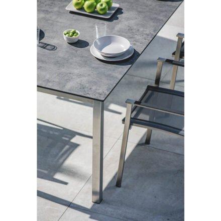 """Niehoff Gartentisch """"Nelson"""" , Gestell Edelstahl, Tischplatte HPL beton mit Stuhl """"Scalea"""""""