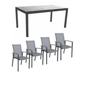 """Stern Gartenmöbel-Set """"Evoee"""", Gestelle Aluminium anthrazit, Sitzfläche Textilgewebe silberfarben, Tischplatte HPL"""