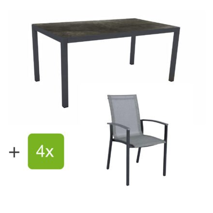 """Stern Gartenmöbel-Set """"Evoee"""", Gestelle Aluminium anthrazit, Sitzfläche Textilgewebe silberfarben, Tischplatte HPL Dark Marble"""